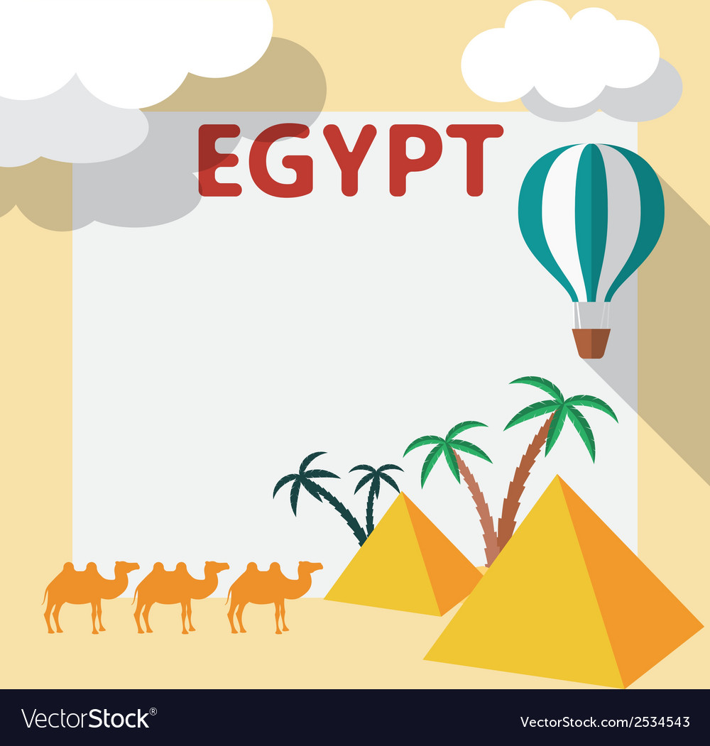 Egypt Travel flat design with template and palm