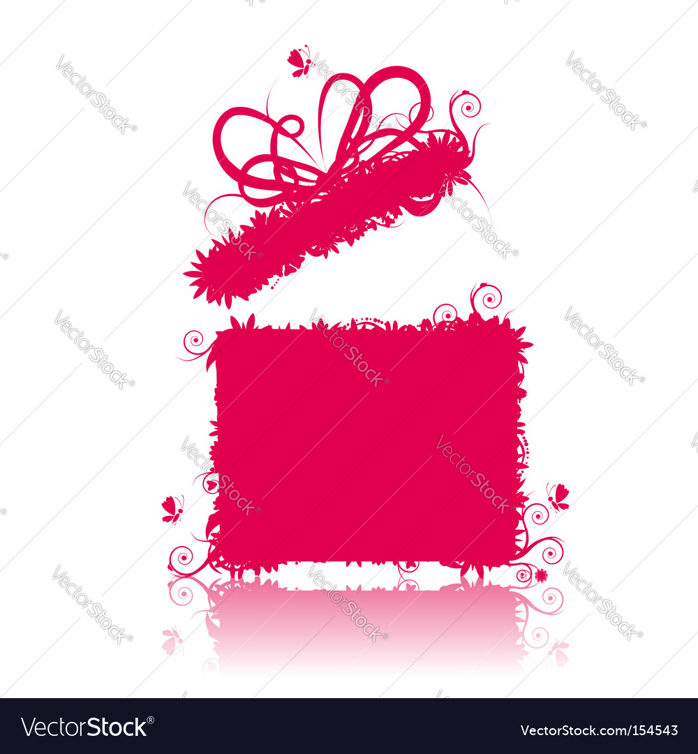 Gift box open present vector