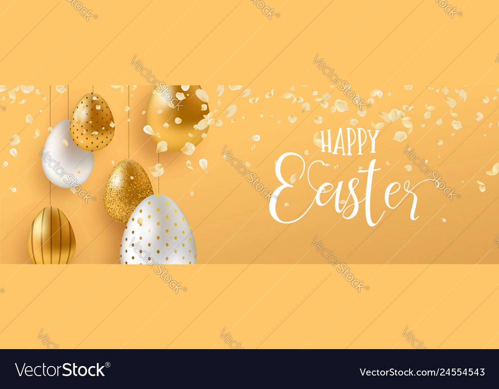 Gold easter eggs and spring flower web banner