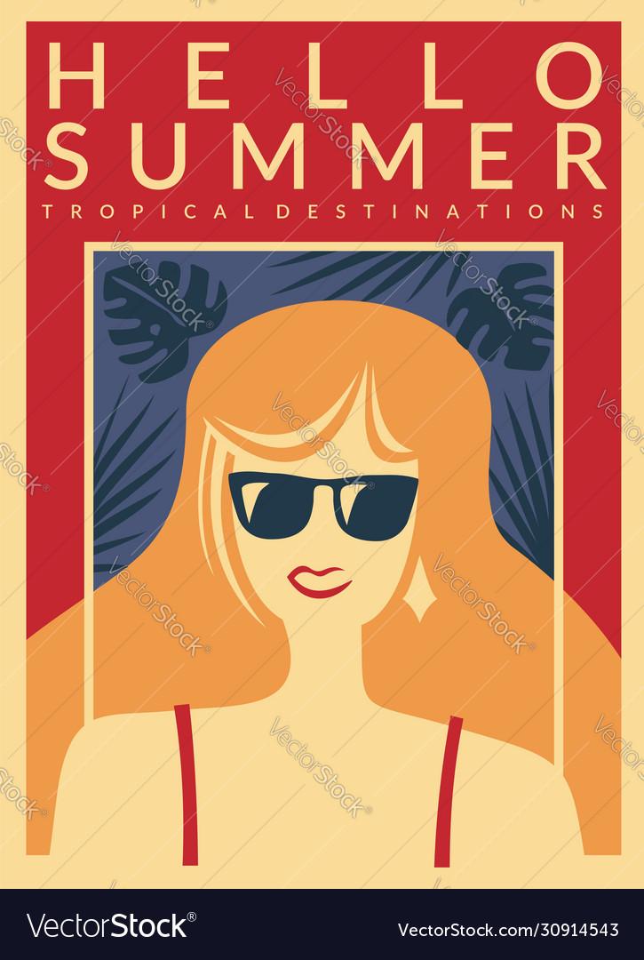Hello summer vacation destinations promo poster