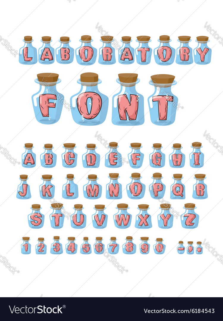Laboratory font Pink live letters in glass