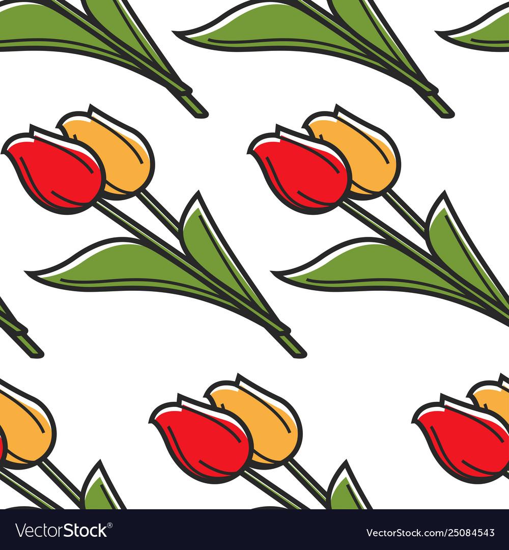 Netherlands symbol tulips seamless pattern spring