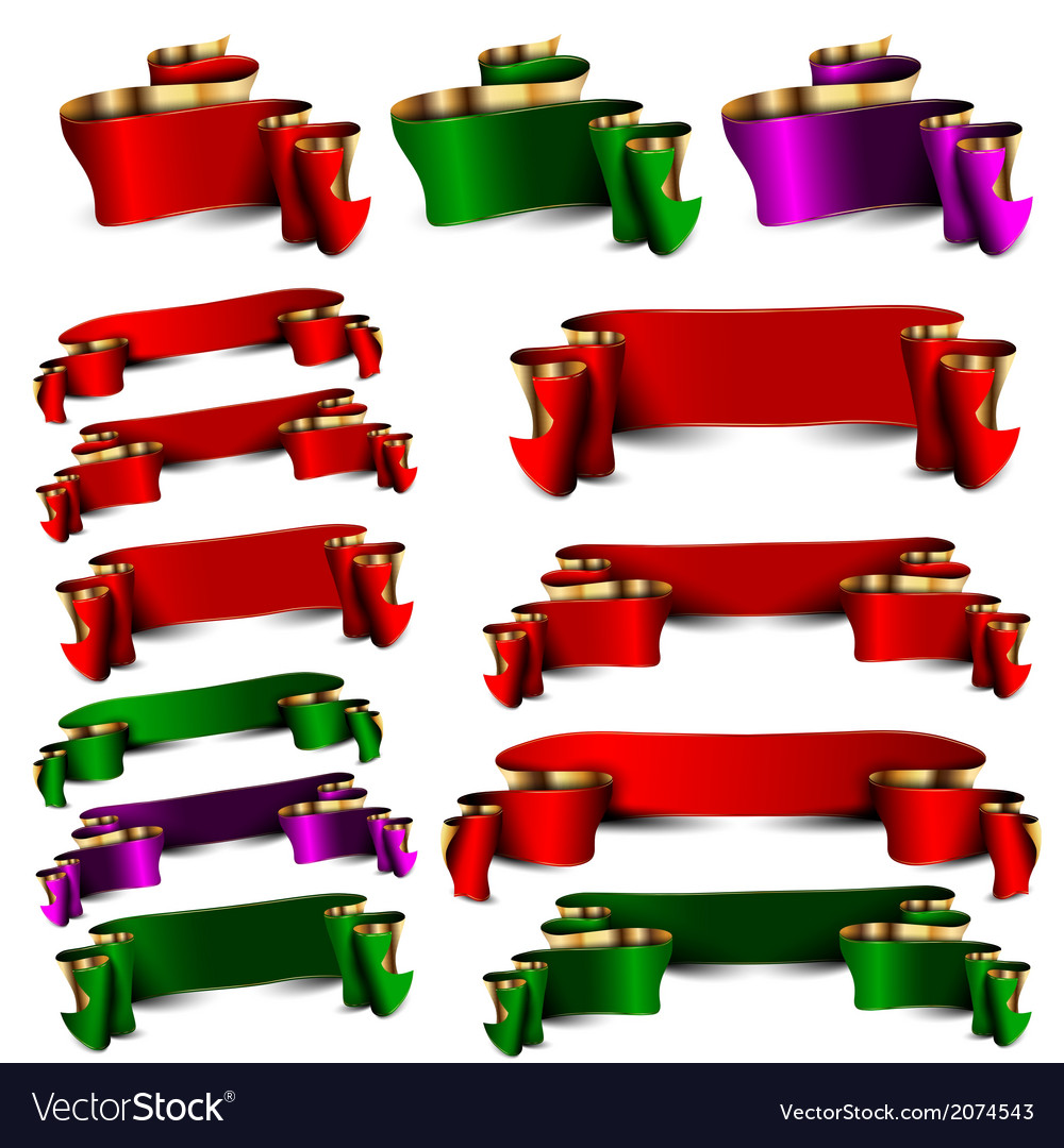 Set of empty royal color ribbons