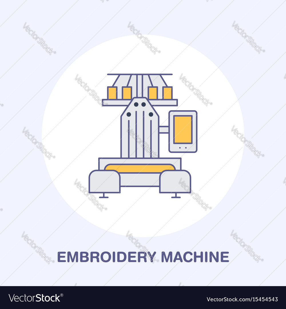 Sewing Embroidery Machine Flat Line Icon Logo Vector Image Diagram