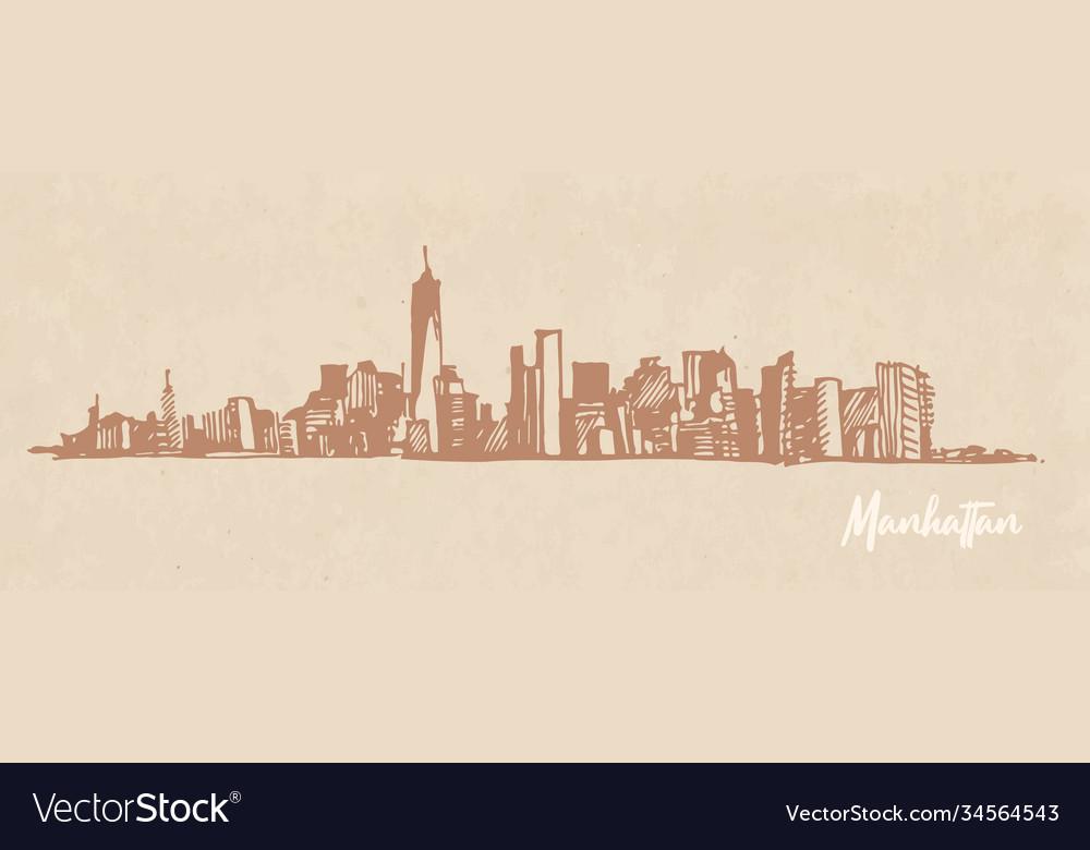 Sketch manhattan new york on kraft paper