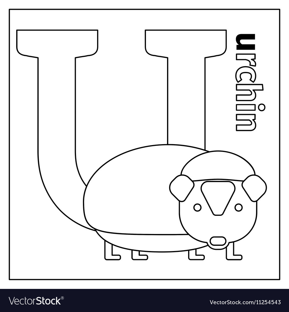 Urchin letter U coloring page Royalty Free Vector Image