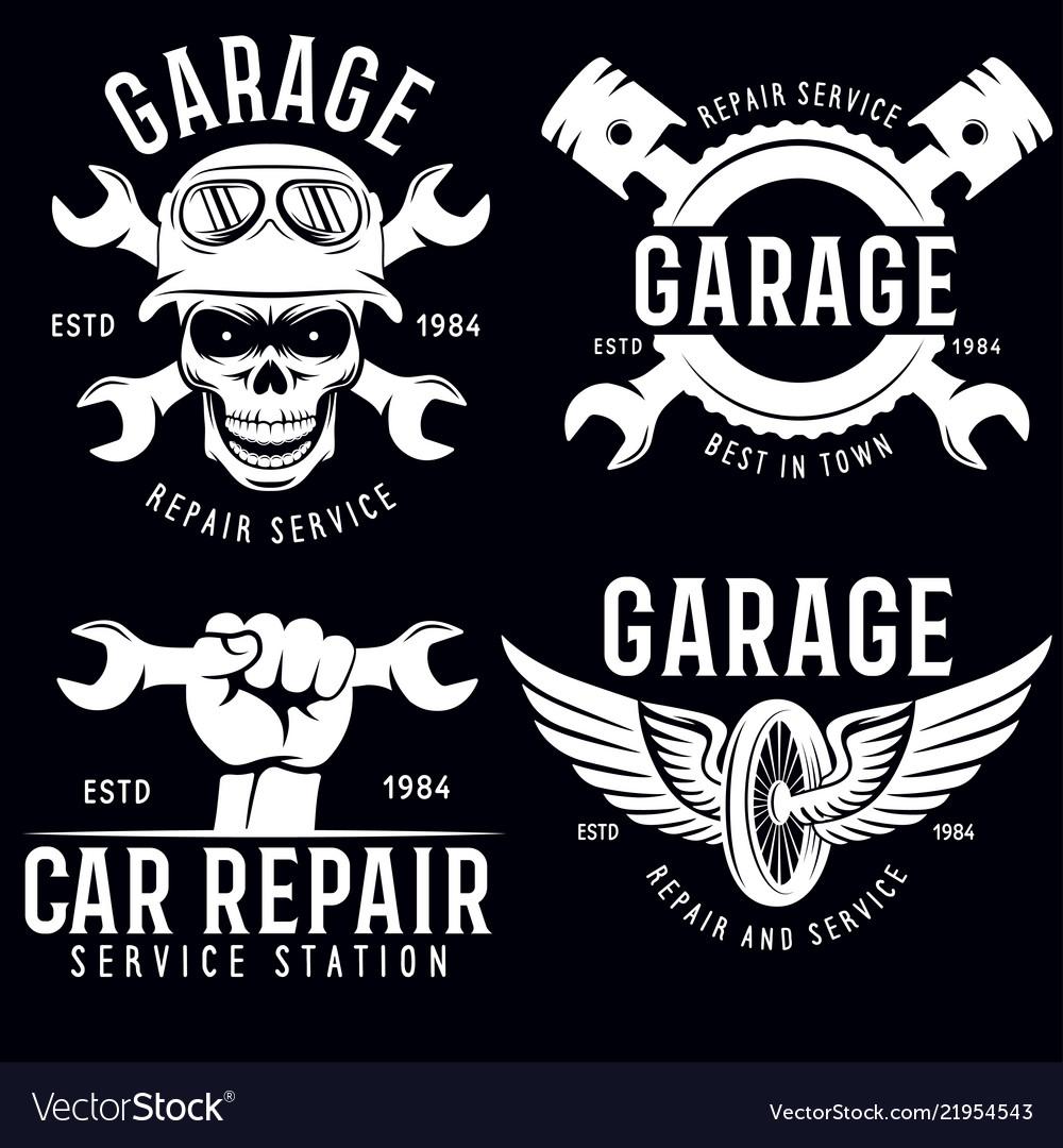 Vintage car service badges templates emblems and