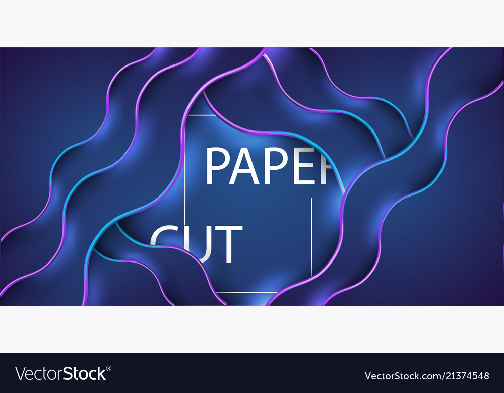 3d abstract background with blue paper cut shapes