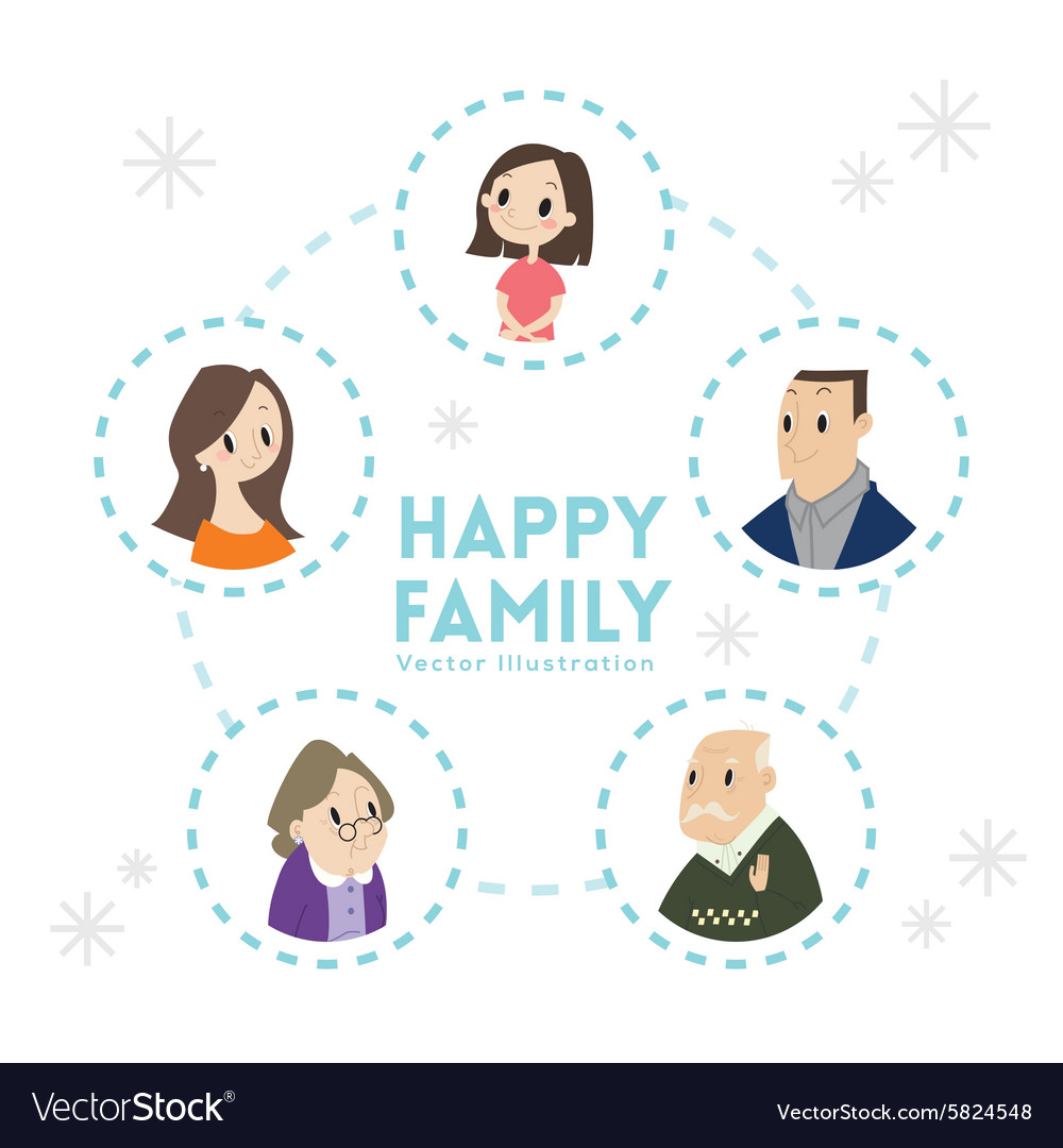 Big happy family portrait cartoon