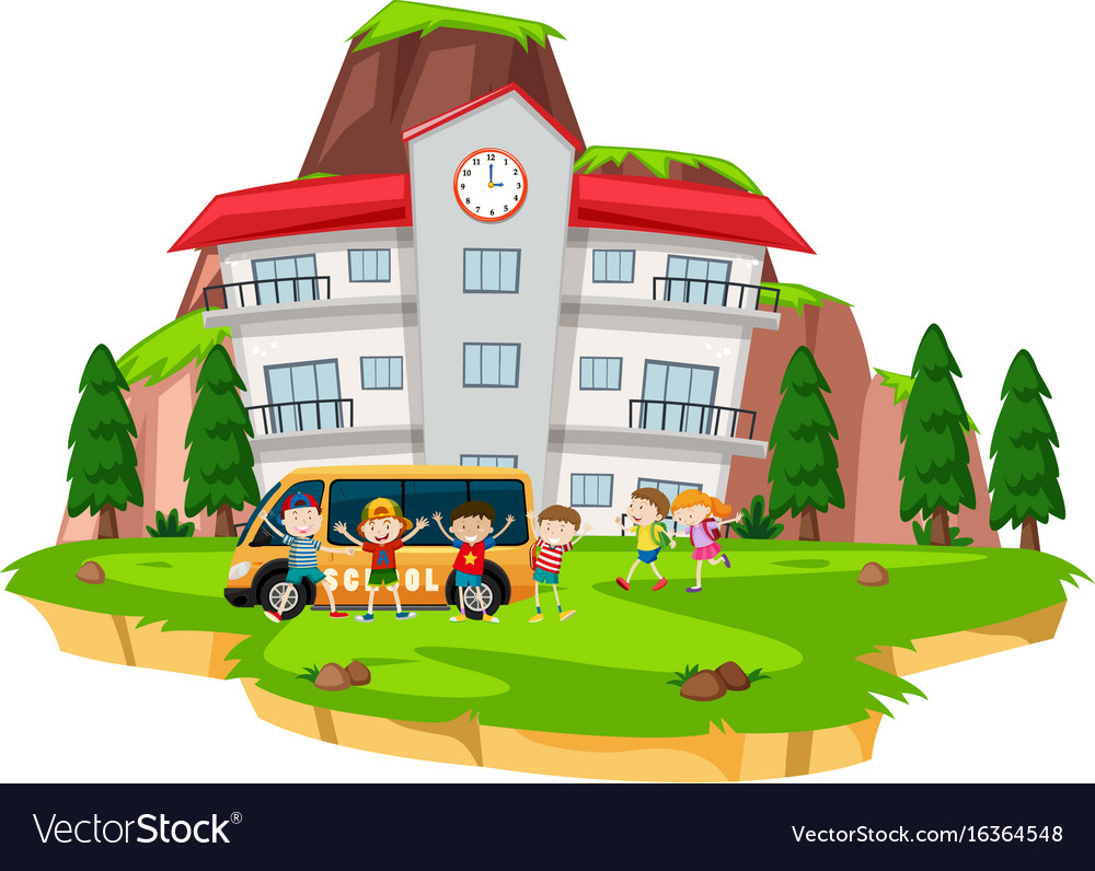 Children playing at school lawn Royalty Free Vector Image