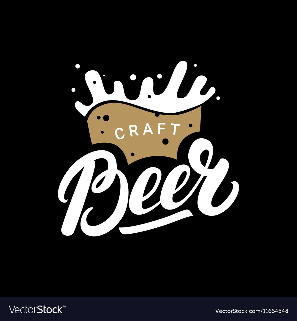 Craft beer hand drawn lettering logo label badge