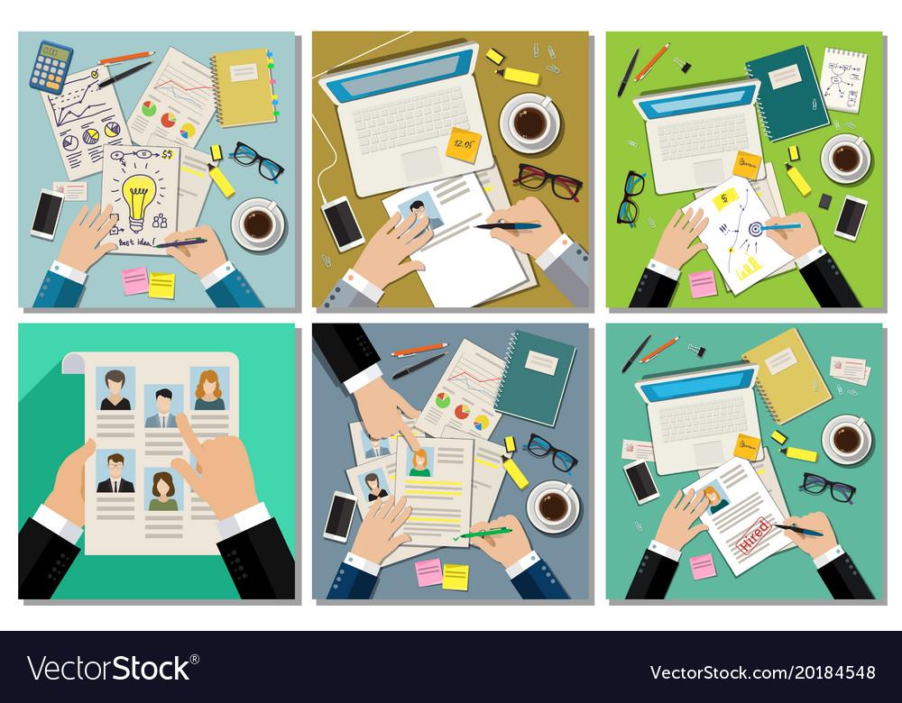 Job interview concept set