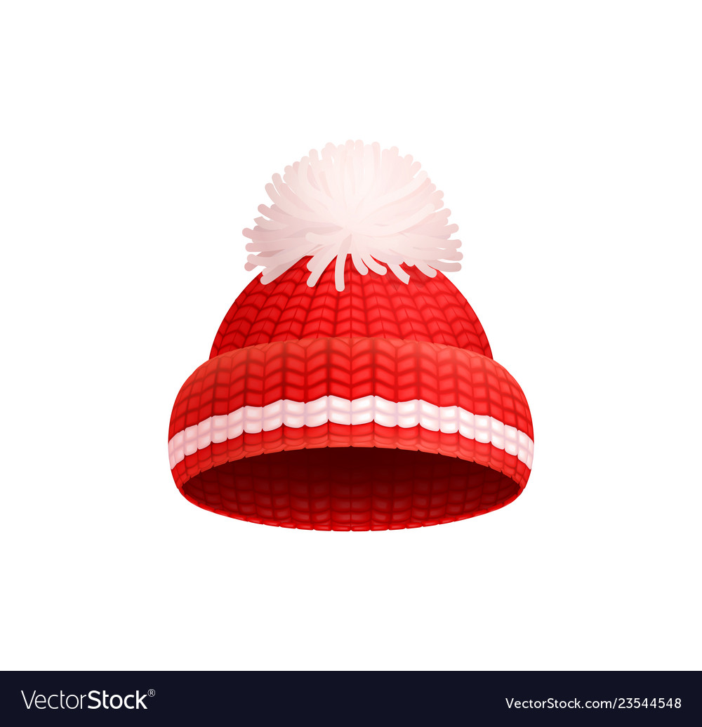 ef6f063d4c0381 Knitted red hat with white pom-pom icon Royalty Free Vector
