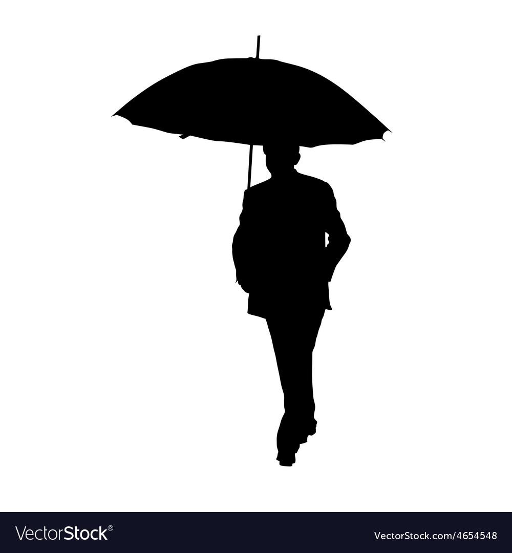 Man with umbrella black silhouette