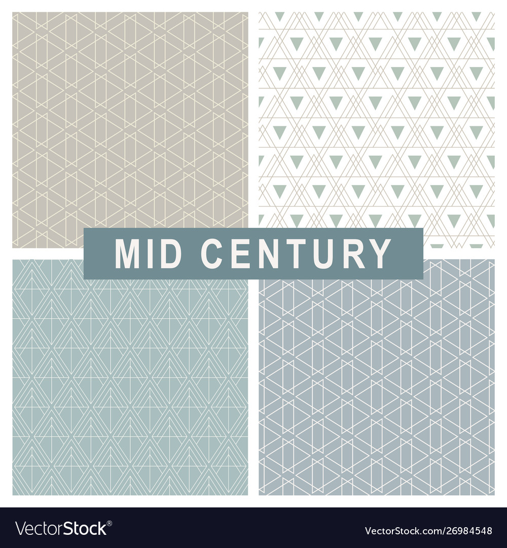 Mid century modern abstract linear patterns set