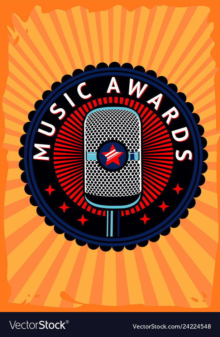 Music awards poster contest emblem with