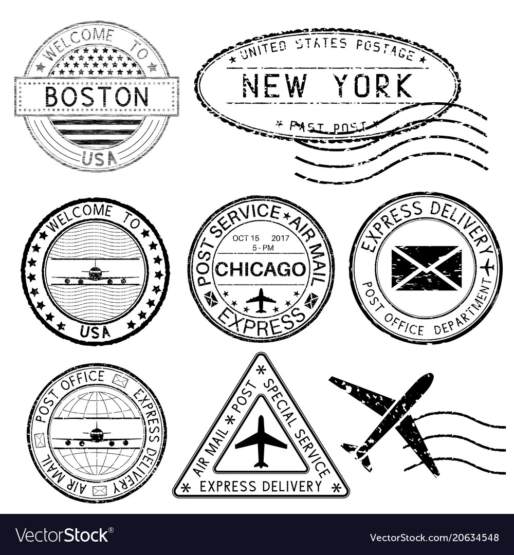 Postmarks and travel stamps usa cities