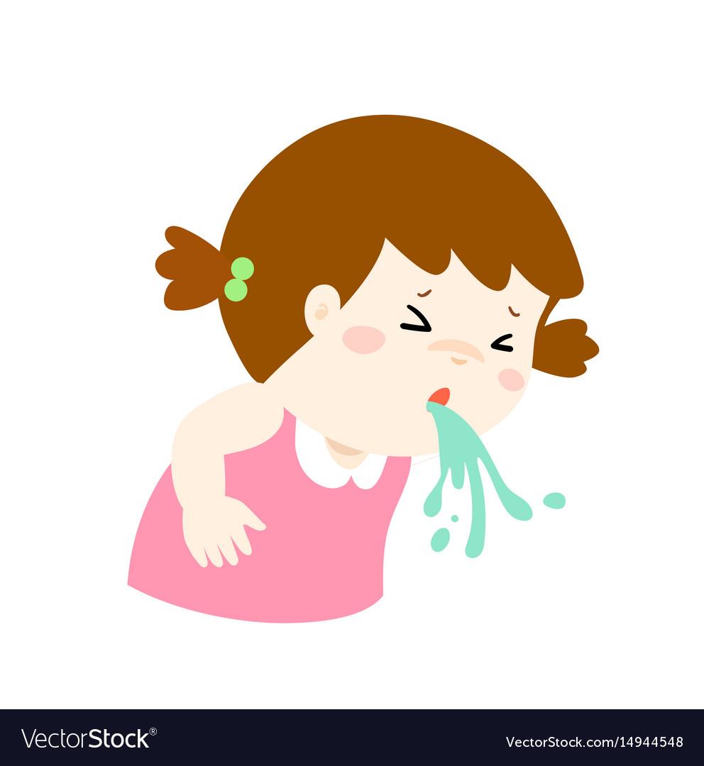 Sick girl vomiting cartoon
