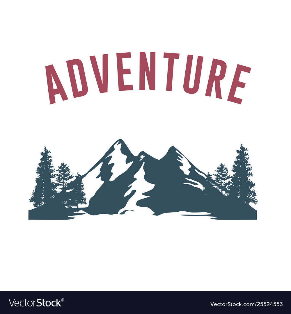 Adventure with mountain silhouette