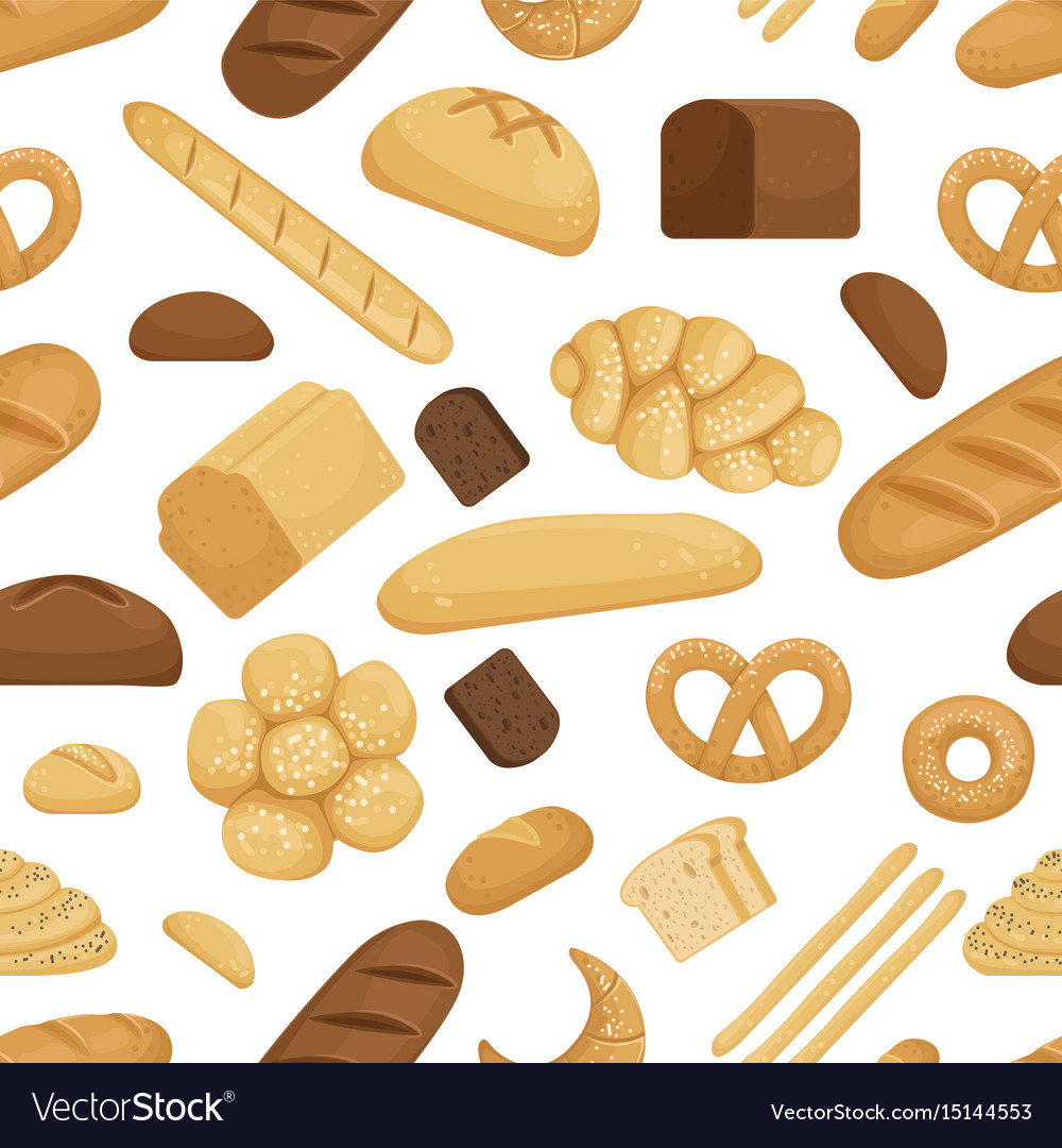 Bread and other bakery foods in funny cartoon