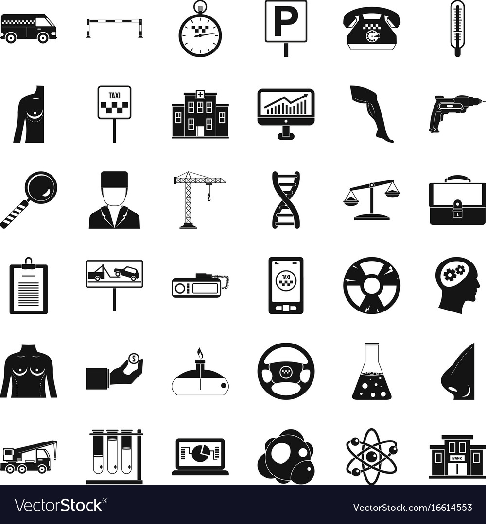 Business parking icons set simple style