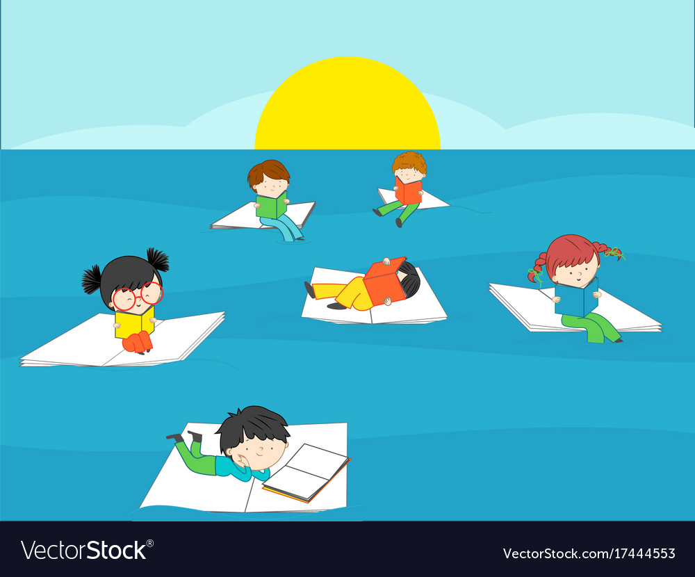 Children reading books in the blue sea on summer