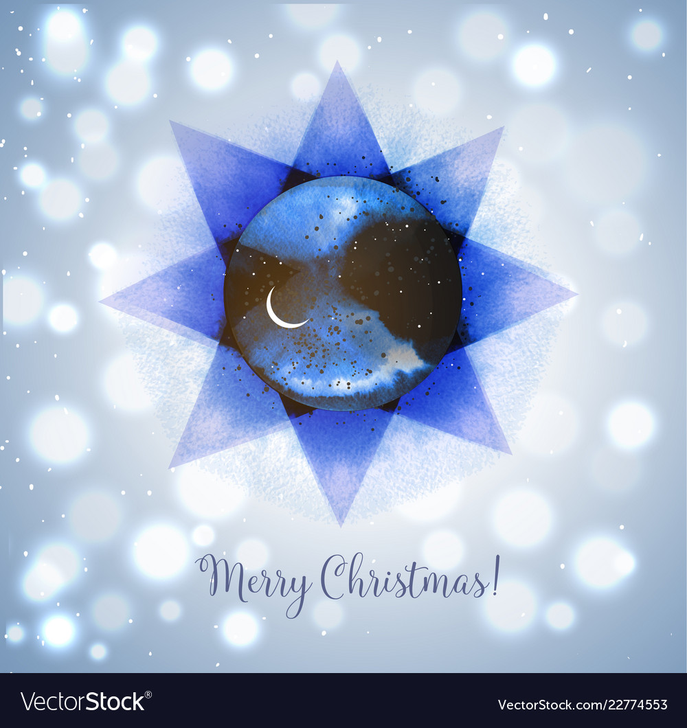 Christmas card with stars and crescent moon on