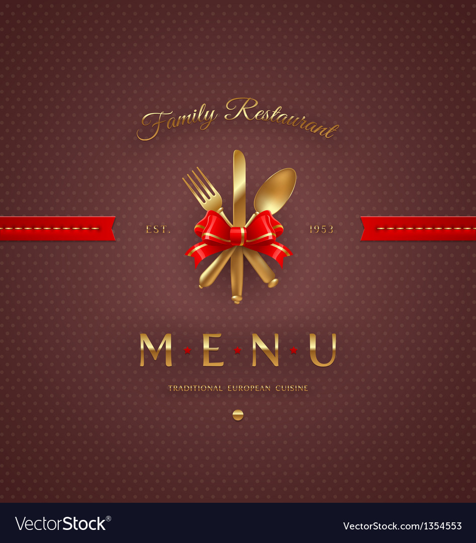Cover menu with golden cutlery and lettering