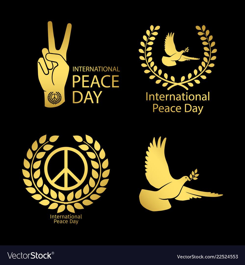 Gold peace day logos set