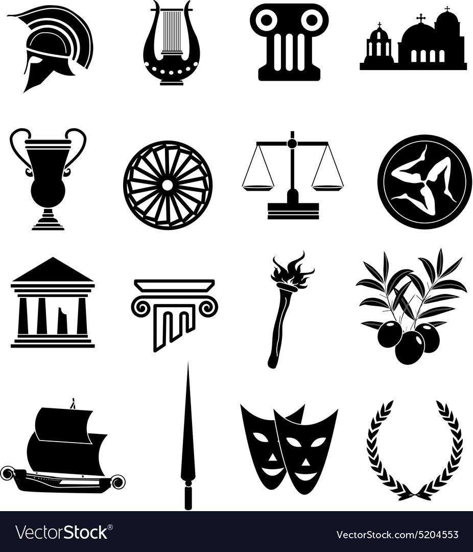 Greek Rome icons set vector image