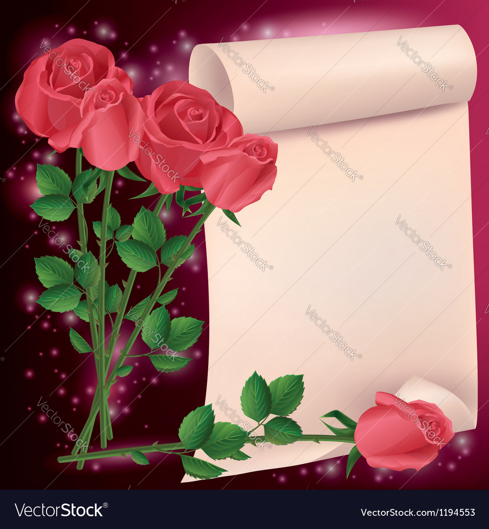 Greeting or invitation card with roses