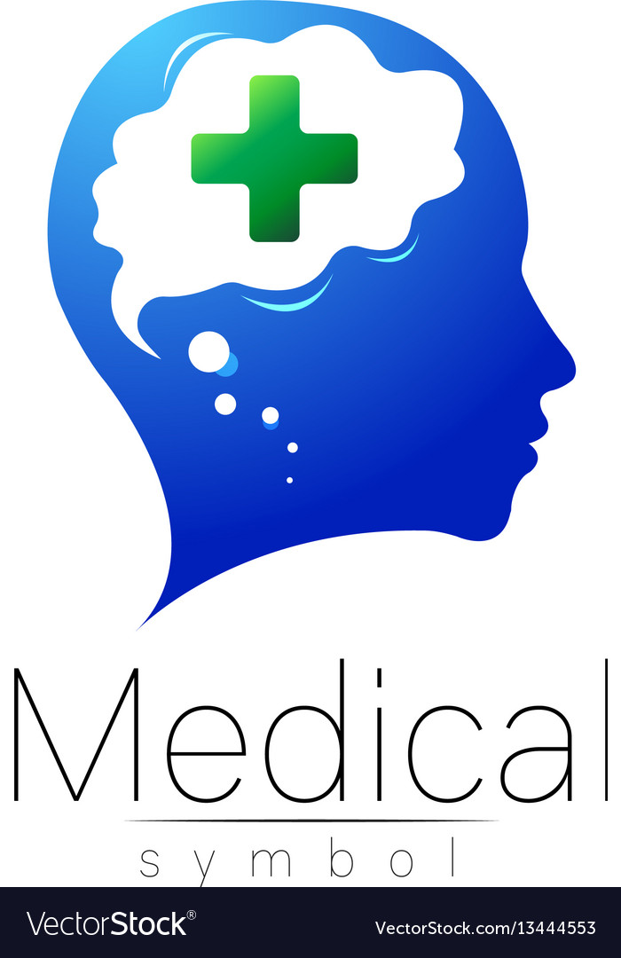 Medical sign with cross human brain