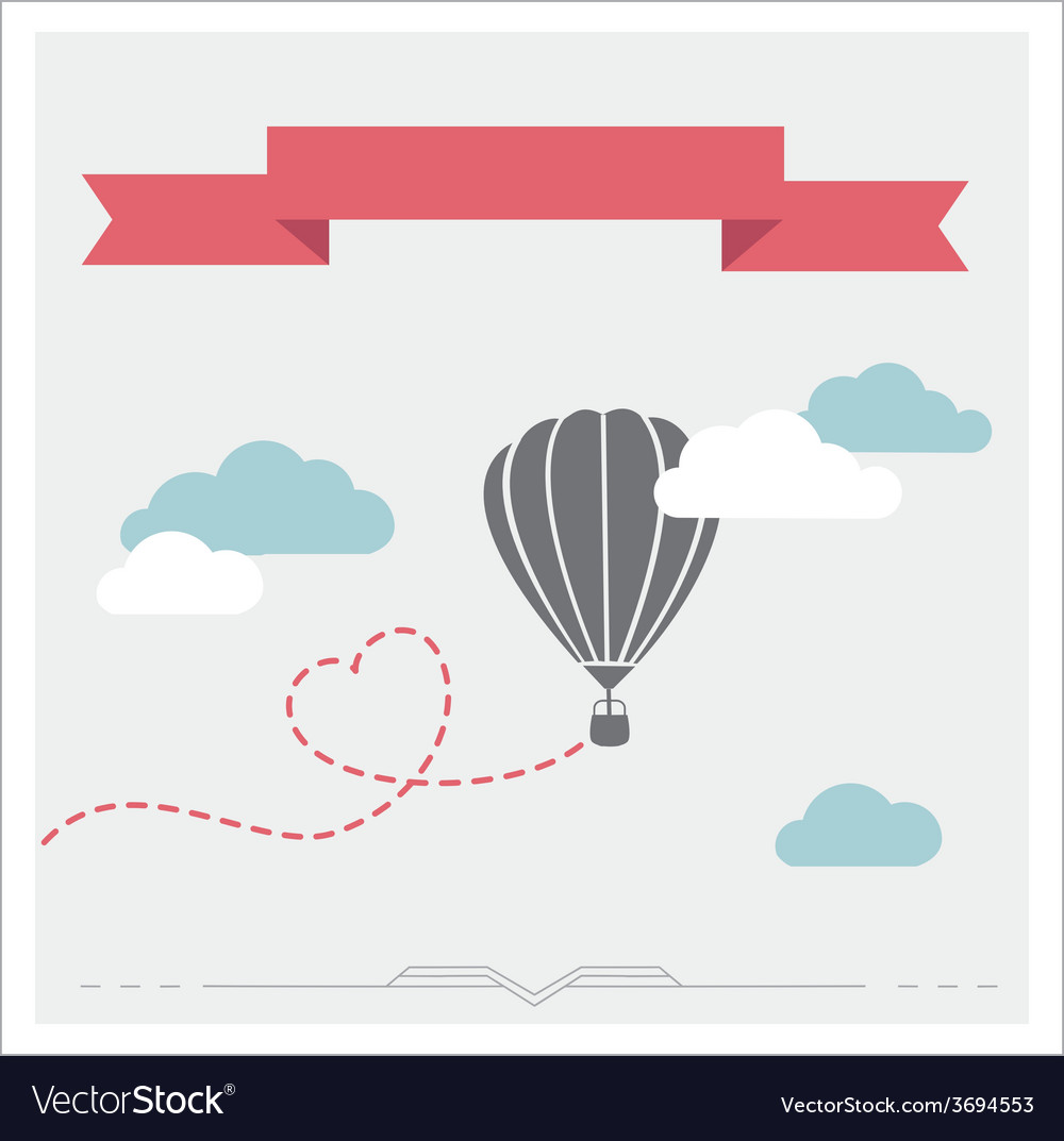 Retro card with aerostat flying in the clouds