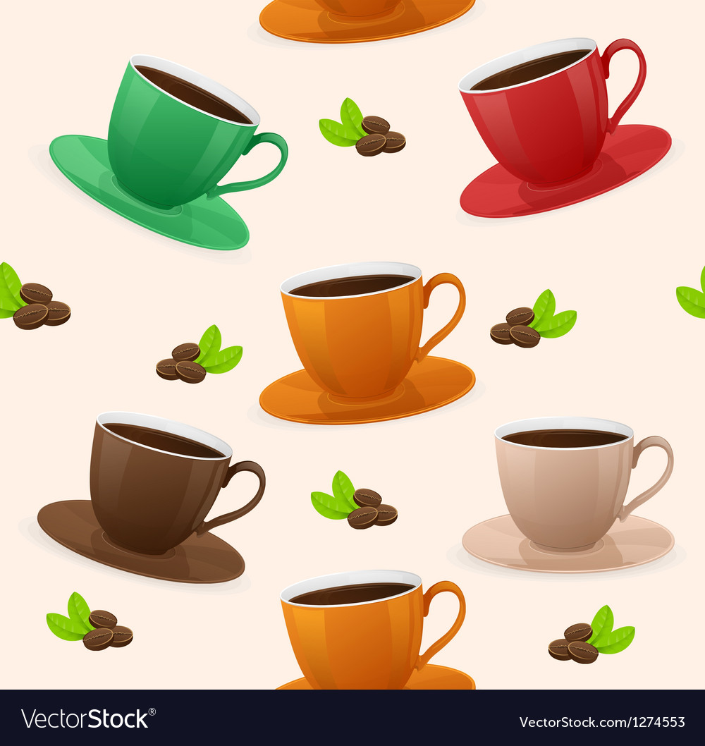 Seamless pattern coffee cups