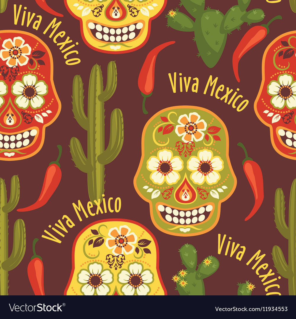 Seamless pattern with traditional Mexican