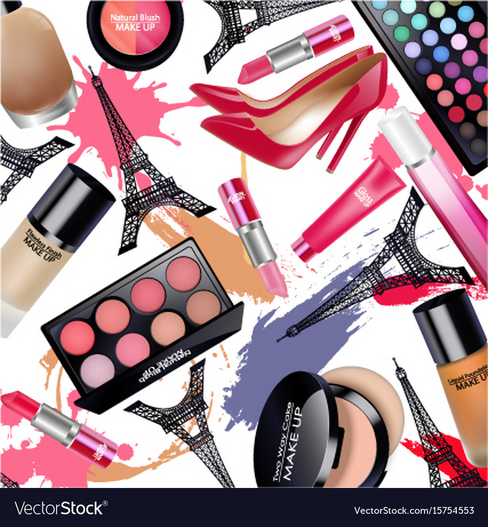Sets of cosmetics with eiffel tower on white