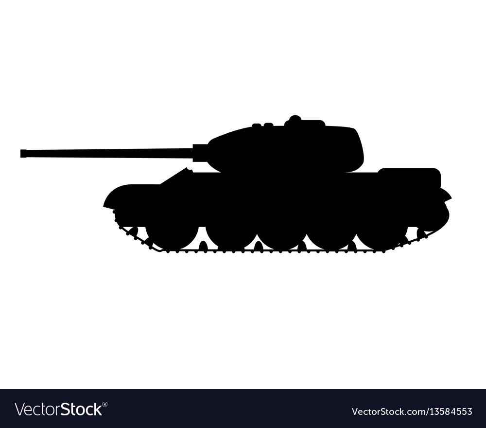Silhouette of a military tank vector image