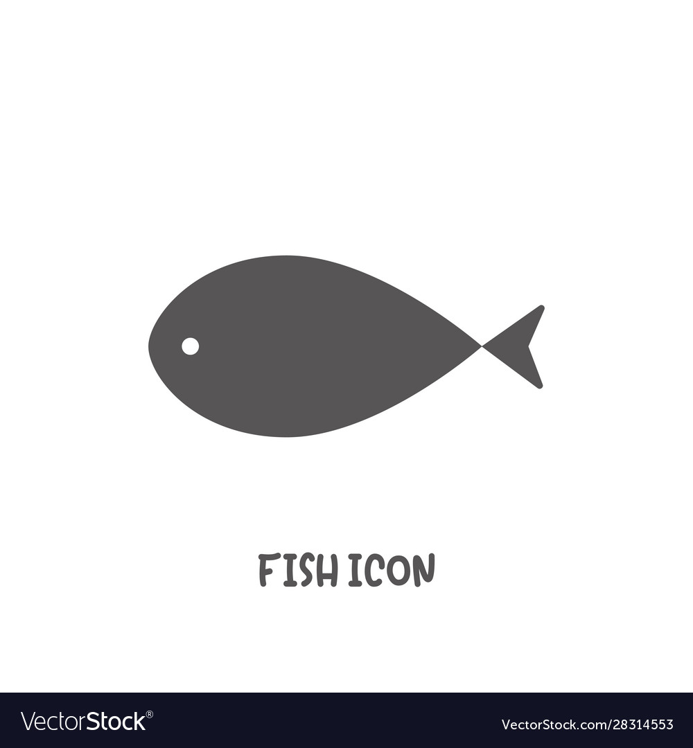 Simple fish icon simple flat style