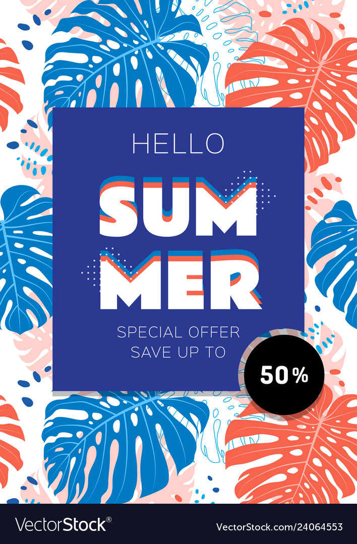 Summer sale template banner tropical leaves