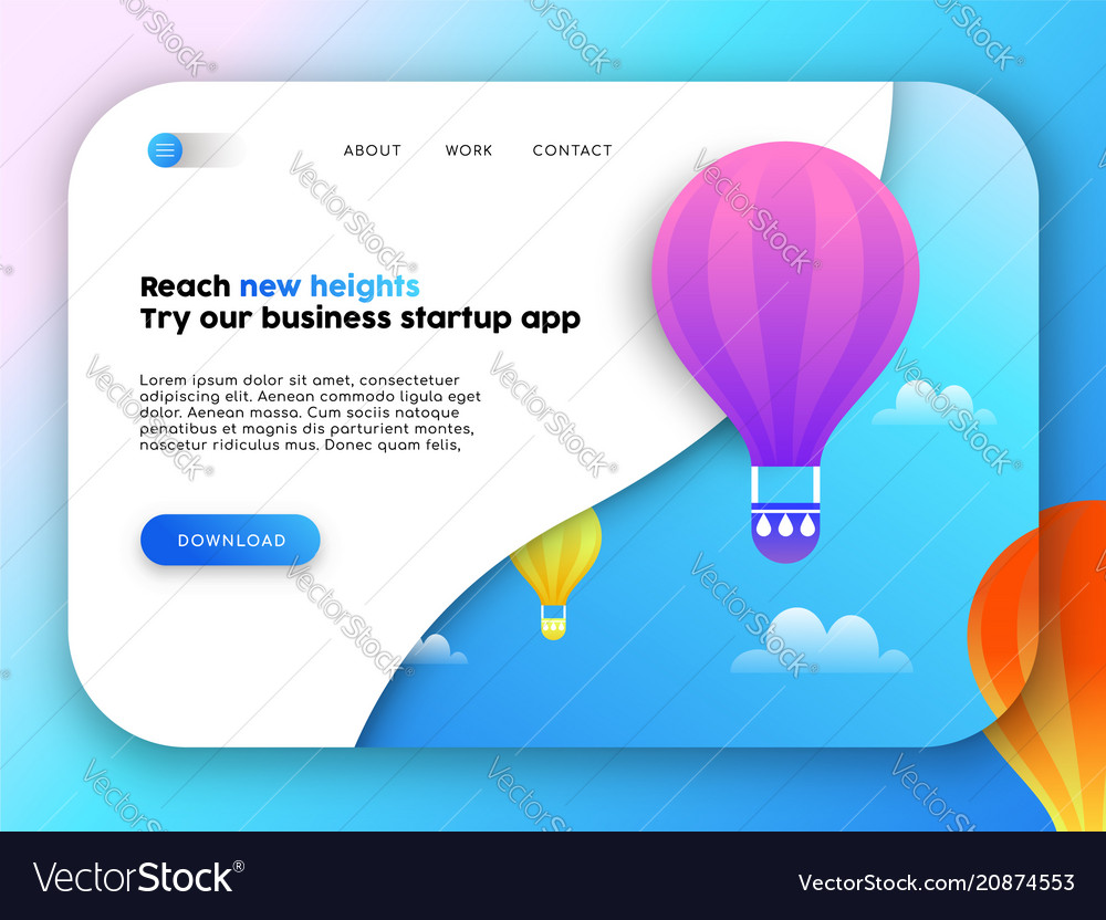 Web business landing page template for app idea vector image flashek Image collections