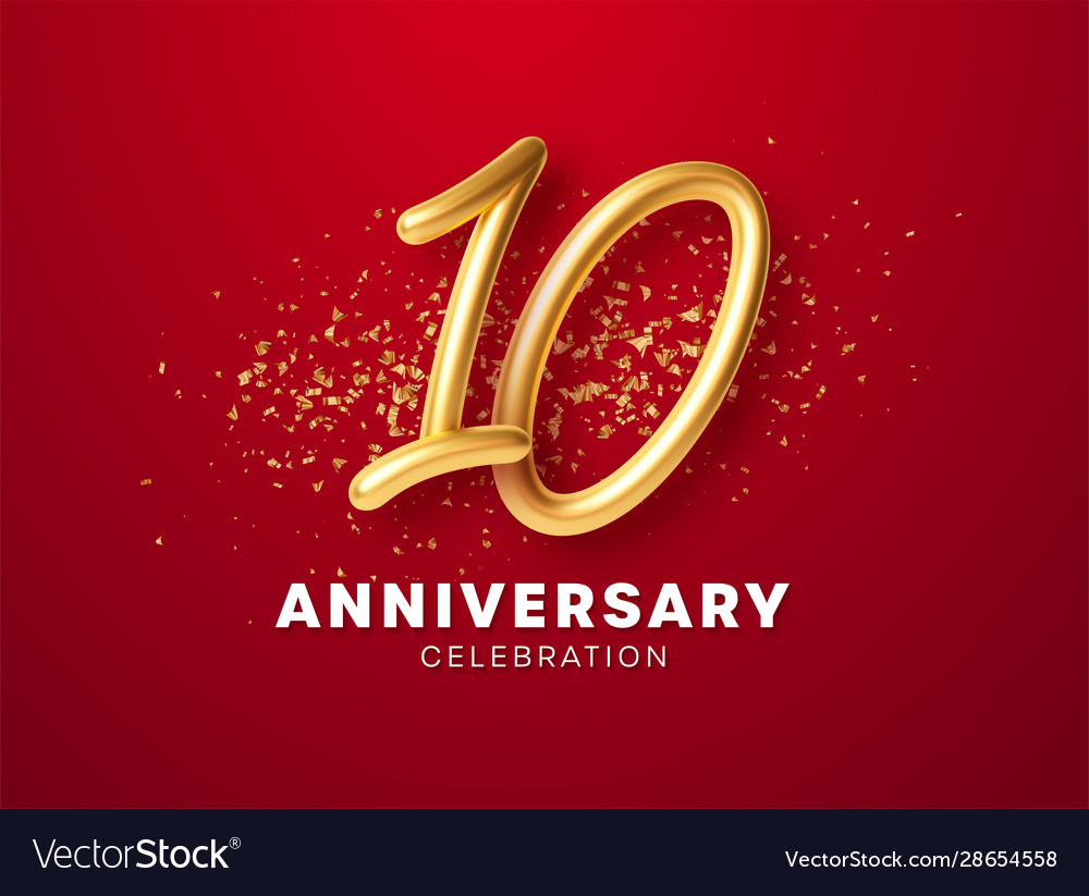 Anniversary celebration design with golden numbers