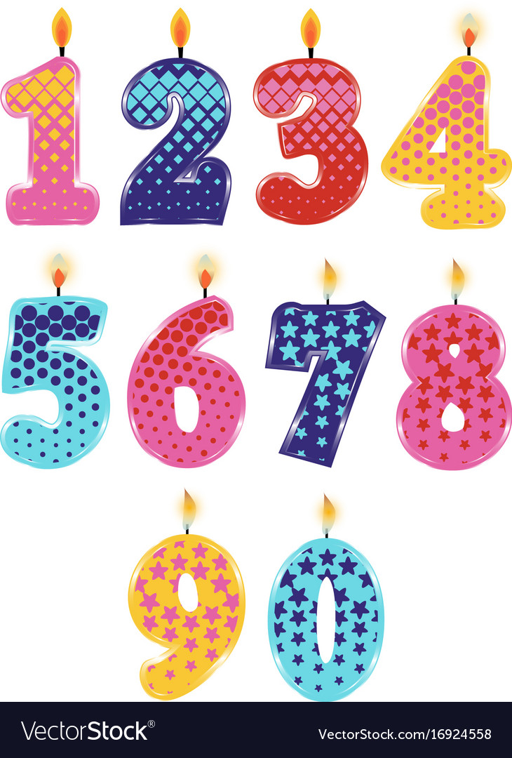 Candle numbers 0 to 9