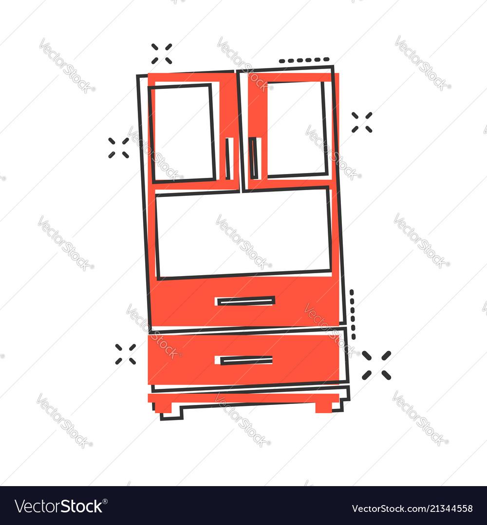 Cartoon cupboard icon in comic style furniture