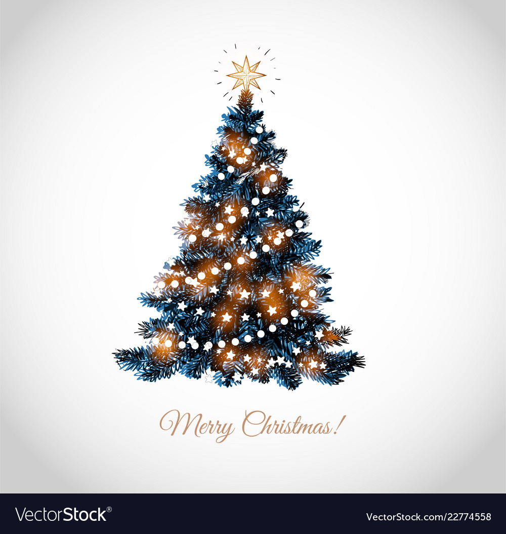 Christmas tree on white background card