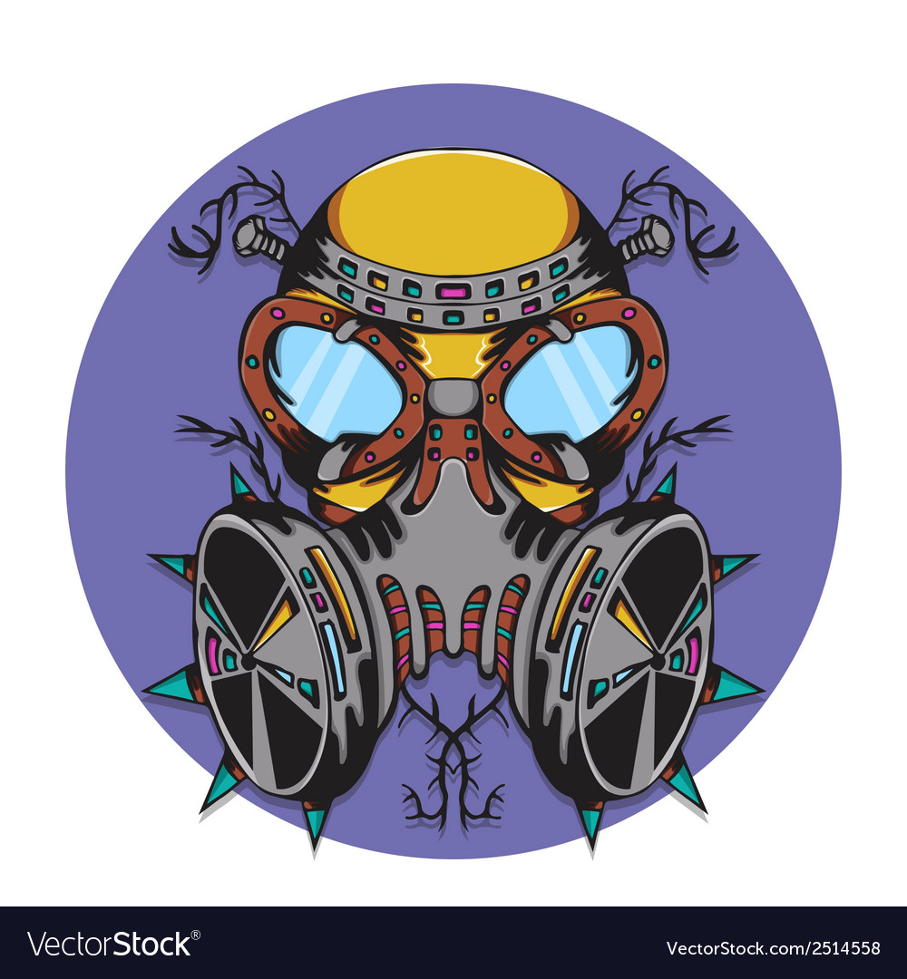 Crazy gas mask bio hazard monster vector image