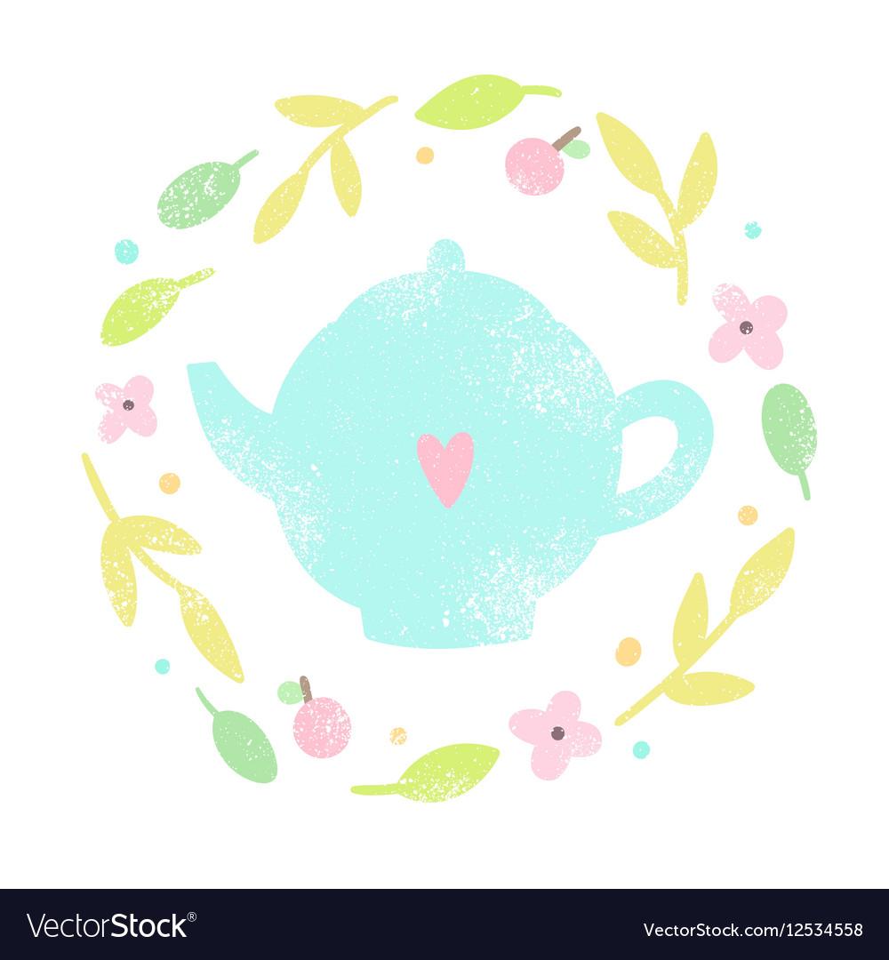 Cute teapot in a floral laurel