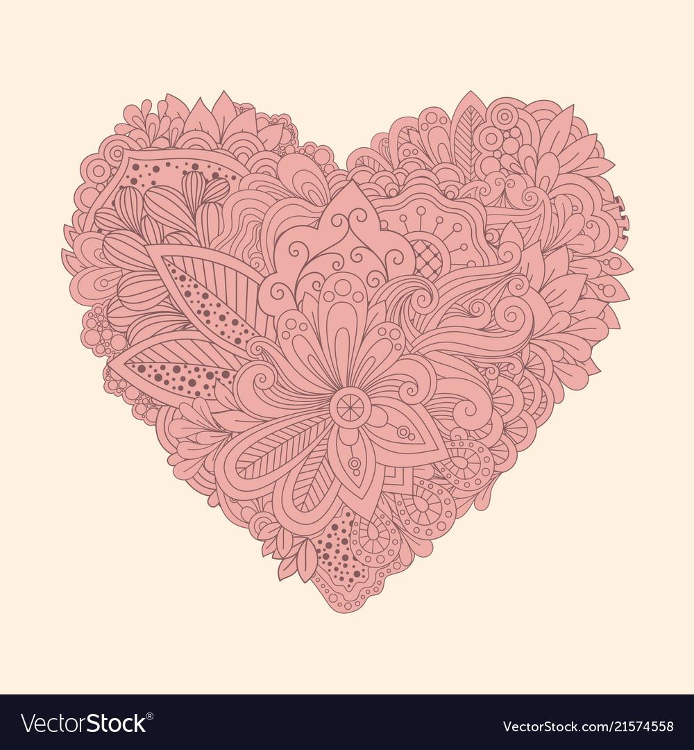 Doodle floral heart vintage printable heart