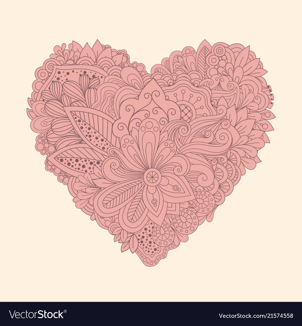 graphic regarding Heart Printable named Doodle floral centre classic printable middle with
