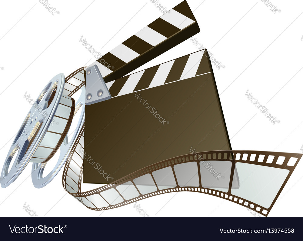Film clapperboard and movie film reel vector image