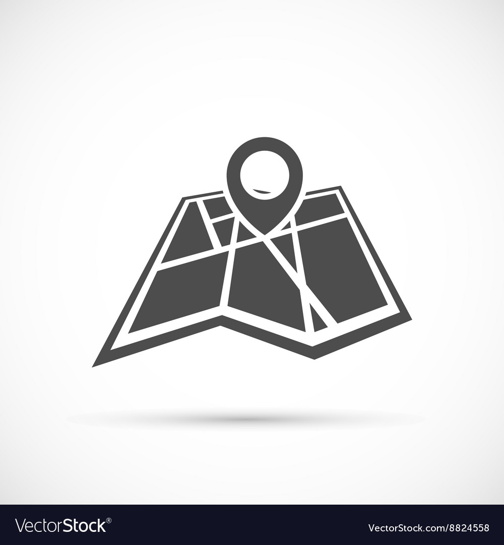 Folded map with point icon vector image